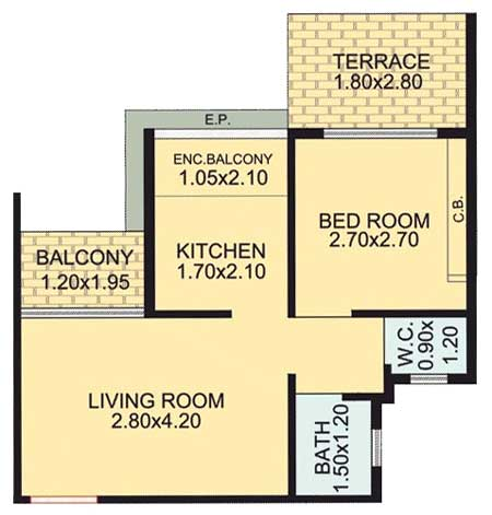 Royal Empire 1 bhk plan